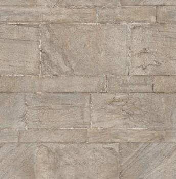 Restored 23-024021 Rasch Textil Steinmauer Tapete metallic braun