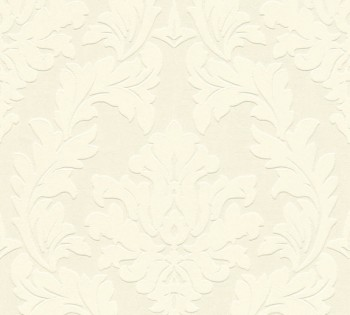 Velourtapete AS Creation Castello 33580-1, 335801 creme große Ornamente
