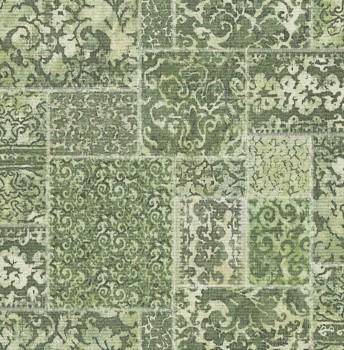 Restored 23-024061 Rasch Textil Tapete Stoff Flicken Muster grün