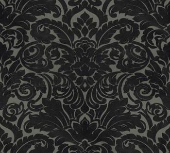 Velourtapete AS Creation Castello 33583-6 schwarz-oliv Verzierung Ornamente