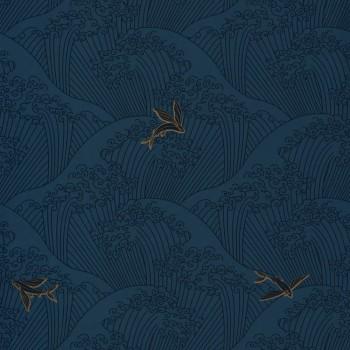 Tapete Wellen Blau