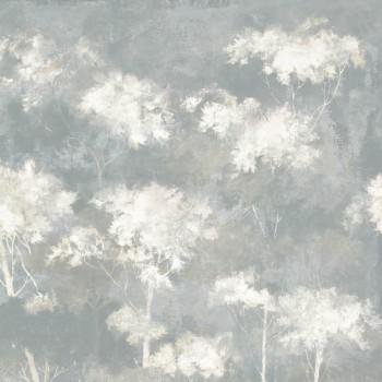 Wandbild Gold Steingrau Bäume