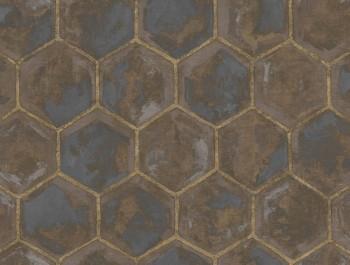 23-107607 Ambrosia Rasch Textil Tapete Wabenoptik braun Goldakzente