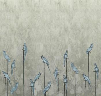 Beige Blau Papageien Wandbild Tenue de Ville ODE 62-ODED191515