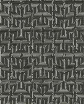 Eijffinger Siroc 55-376067 dunkel-grau weiß Labyrinth Vliestapete