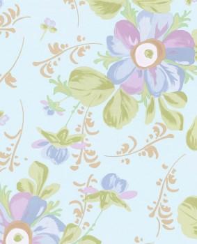 Vlies Tapete Blau Blumen Teenager