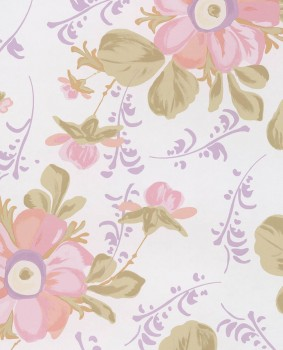 Vlies-Tapete Lila Blumenmuster Kind