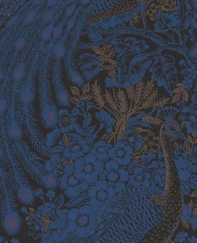 55-378002 Eijffinger Reflect non-woven wallpaper peacock black blue