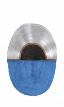 Blau Silber Oval Wandbild Tenue de Ville SAUDADE 62-SAUD211607