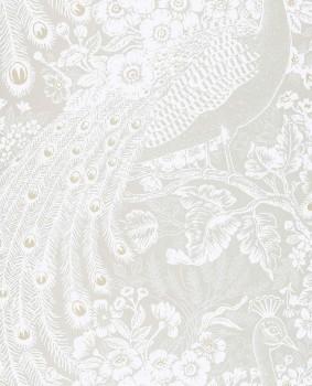 Eijffinger Reflect 55-378003 creme-beige glänzend Pfau Vliestapete