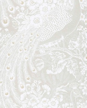 Eijffinger Reflect 55-378003 cream-beige shining peacock non-woven wallpaper