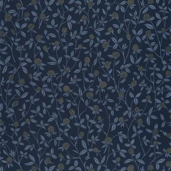 36-HYG100566905 Caselio - Hygge flower tendril wallpaper dark blue