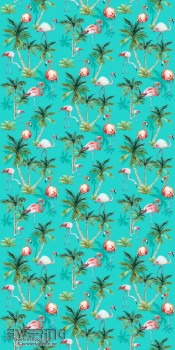 23-158609 Cabana Rasch Textil Wandbild Flamingo türkis glatt