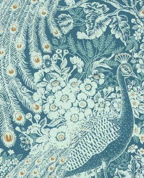 Reflect Eijffinger 55-378004 peacock blue non-woven wallpaper living room