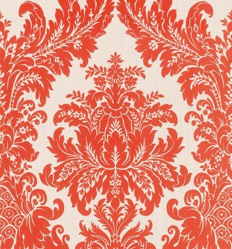 23-077260 Cassata Rasch Textil orange-rot Ornament Textiltapete
