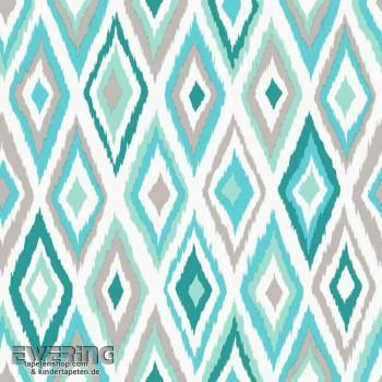 Rasch Textil Cabana 23-148629 Rauten-Muster türkis Vliestapete