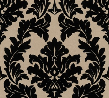 Velourtapete AS Creation Castello 33580-4, 335804 große Ornamente schwarz-beige