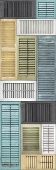 Rasch Textil Reclaimed 23-022358 Wandbild bunt Fensterläden