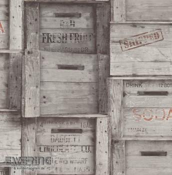 23-022349 Reclaimed Rasch Textil Vliestapete Holzkisten grau