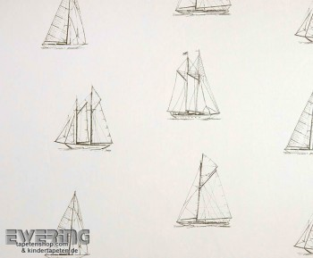 Texdecor Casadeco - Marina 36-MRN25171301 weiß Stoff Segelboot