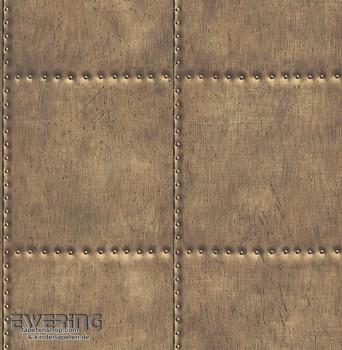 23-022341 Reclaimed Rasch Textil Stahlplatten Vliestapete bronze