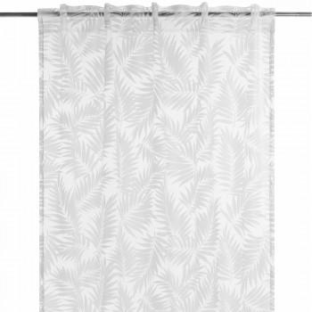 Dekoschal Rasch BARBARA home 45-200244 weiß-grau Blätter Schlaufen