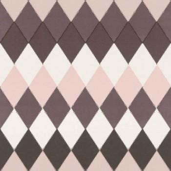 Boho Chic Rasch Textil 23-148681 Tapete Karomuster aubergine rosa