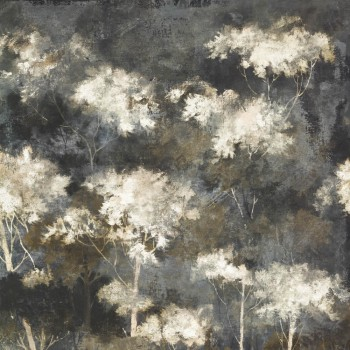 Wandbild Dunkelblau Goldene Bäume