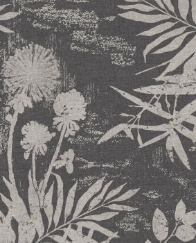 55-379035 Eijffinger Lino flowers leaves black non-woven wallpaper