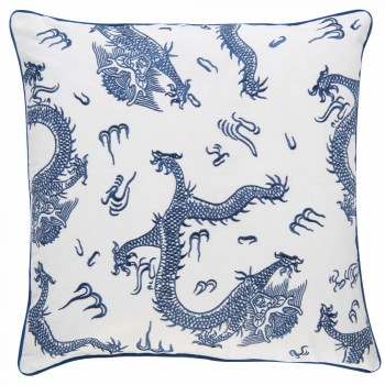 Rasch BARBARA home 45-200312 Kissenhülle blau Drachen Leinwandgewebe