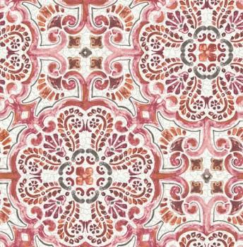23-024043 Rasch Textil Restored Tapete Malerei rot orange Ornament