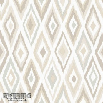 23-148628 Cabana Rasch Textil beige Ethno-Muster Tapete Rauten