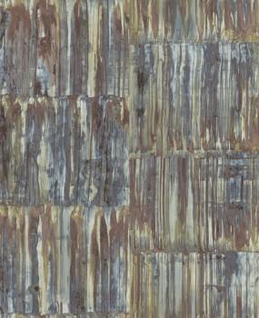 Restored 23-024064 Rasch Textil Metall Rost Tapete Muster metallic