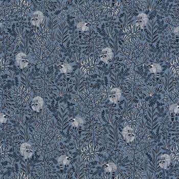 36-HYG100546911 Texdecor Caselio - Hygge blau Waschbär Tapete