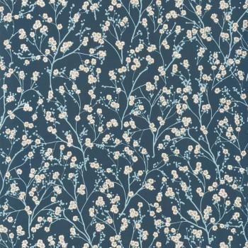 Blumen Vliestapete Blau Gold