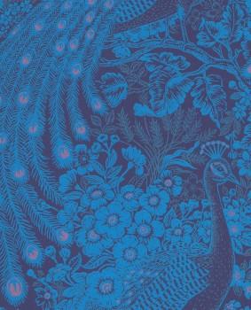 Eijffinger Reflect 55-378006 royal-blue peacock shining non-woven wallpaper